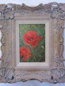S A Neal Oil on board Poppies, signed lower right, 15.5cm x 10.5cm