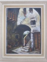 Holly (contemporary school) Oil on canvas Mediterranean house with steps and arch, signed lower