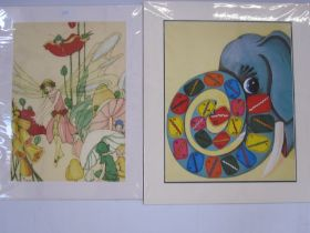 "Lydia Hine Colour print ""Poppy Fairy"", 37cm x 27cm Playhour Colour print ""Boy Who Loved Cars"","
