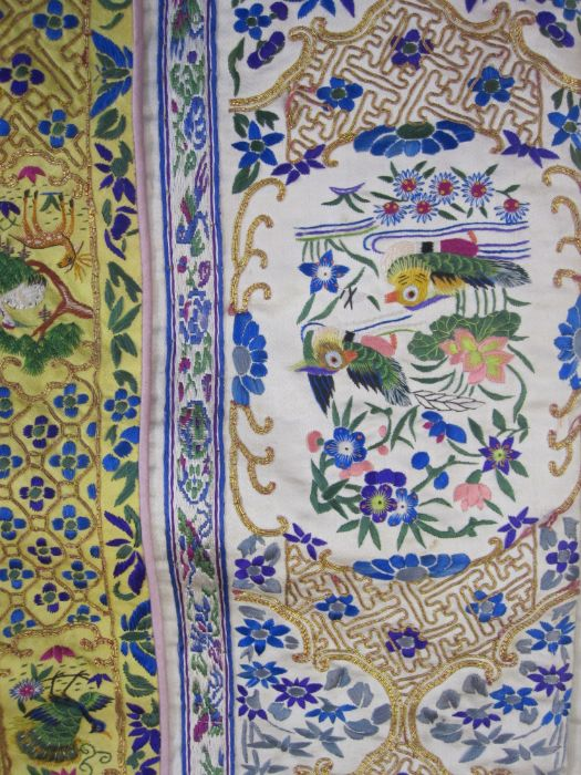 Chinese embroidered silk robe, brass button with relief pattern and silk loop fastenings, borders - Image 11 of 18