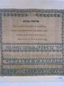 Sampler with alphabet, numbers and prayer by Heather Walsh dated 1839, stitched onto board, 30cm x