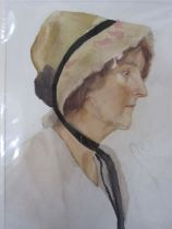 Frances Mary Towers (early 20th century school) Watercolour and pencil Portrait studies, still life