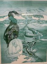 Peter Lyon (20th century) Limited edition print 'Cormorant Cast' no. 26/50, signed in pencil