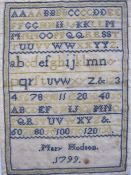 Samplerwith alphabet and numbers by Mary Hodson 1799, backed onto paper, blue and yellow thread (