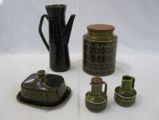 Quantity of Hornsea ware to include two floral decanters and jar, a studio pottery butter dishand a