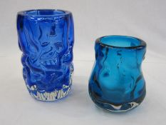 Whitefriars knobbly glassin blue, 17cm high and another smallerin turquoise, 13cm high (2)