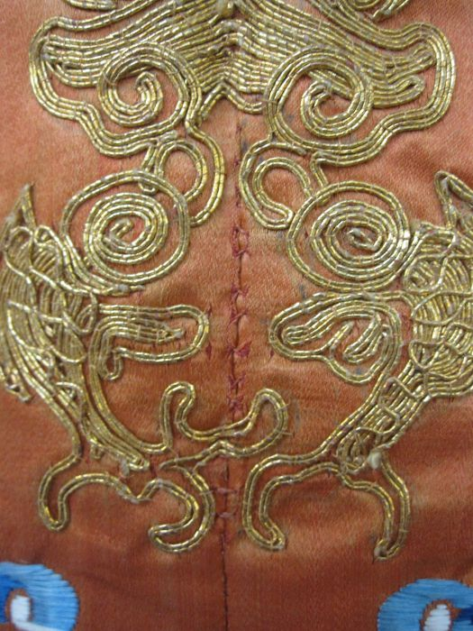 Chinese embroidered silk Dragonrobe, apricot ground, gold thread embroidered with five-clawed - Image 10 of 10