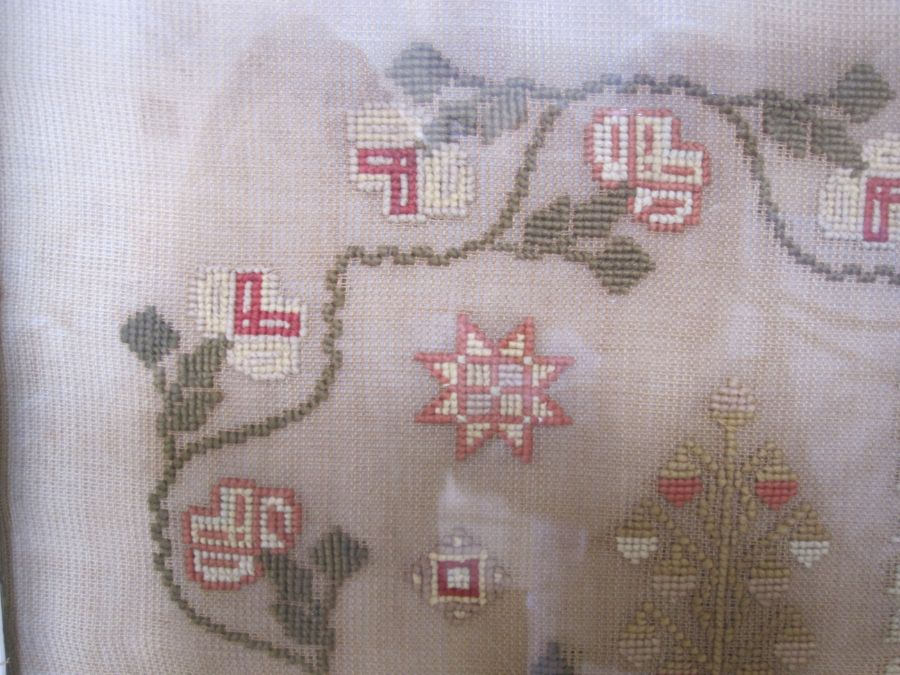 Large sampler,Mary Jones' Work in the year 1848, aged 9 years, flower border, red brick house - Image 2 of 9