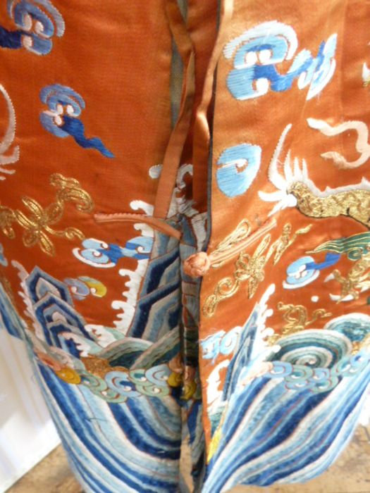 Chinese embroidered silk Dragonrobe, apricot ground, gold thread embroidered with five-clawed - Image 5 of 10