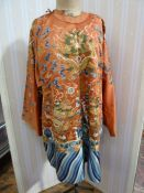Chinese embroidered silk Dragonrobe, apricot ground, gold thread embroidered with five-clawed