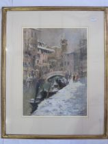 John Ambrose (1931-2010) Pastel drawing Venetian scene with view of canal and St Marks tower in