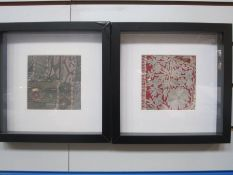 Four framed Indian hand-sewn samplesfrom larger pieces, approx. 12cm x 12cm (4)