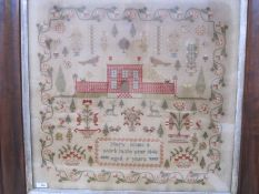 Large sampler,Mary Jones' Work in the year 1848, aged 9 years, flower border, red brick house