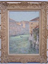 John Neale (20th century) Oil on board Venetian scene, view from the Academy Bridge, canal with