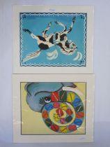 "Felicity Ashby Colour print ""Piebald Circus Horse"", 30cm x 38cm Lydia Hine Colour print ""Poppy"