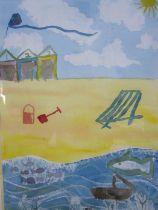 Robert Bye Watercolour Beach scene with kite, signed lower left, 55cm x 37cm