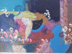 After Lee White Limited edition print 227/300 Figure with guitar, signed lower right, 45 x 66cm