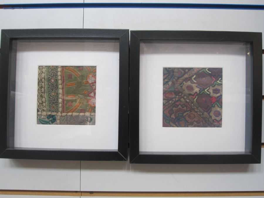 Four framed Indian hand-sewn samplesfrom larger pieces, approx. 12cm x 12cm (4) - Image 2 of 2