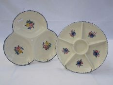 Poole pottery hors oeuvresdish, floral decorated and another similar patterned dish(2)