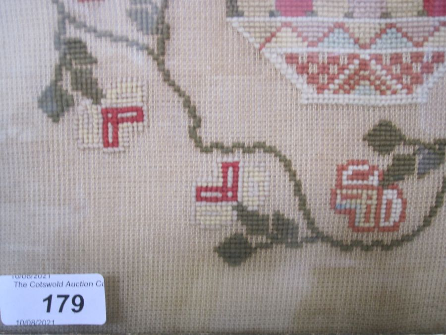 Large sampler,Mary Jones' Work in the year 1848, aged 9 years, flower border, red brick house - Image 4 of 9