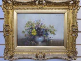 Vernon Ward (1905-1985) Oil on board Pansies and other flowers in a bowl, signed top right, 24cm