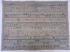 Sampler with alphabet and numbers by Eliza Payne aged 9 years, 1848, many coloured threads used,