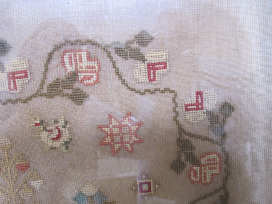 Large sampler,Mary Jones' Work in the year 1848, aged 9 years, flower border, red brick house - Image 3 of 9