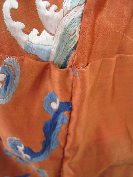 Chinese embroidered silk Dragonrobe, apricot ground, gold thread embroidered with five-clawed - Image 7 of 10