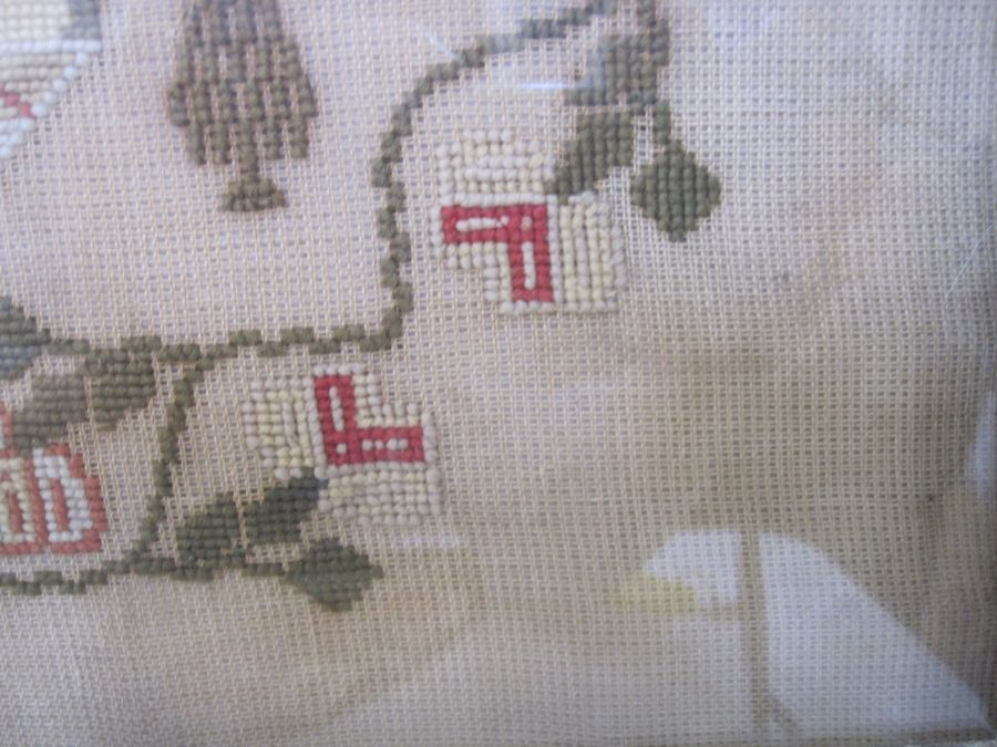 Large sampler,Mary Jones' Work in the year 1848, aged 9 years, flower border, red brick house - Image 5 of 9