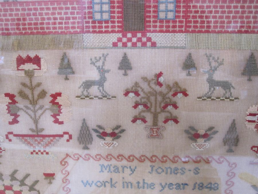 Large sampler,Mary Jones' Work in the year 1848, aged 9 years, flower border, red brick house - Image 6 of 9