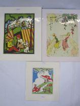 "Pat Harrison Colour print ""Rabbits with Toadstools"", 21.5cm x 17.5cm Lydia Hine Colour print """