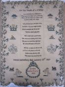 """Sampler with embroidered poem """"On the Death of a Father ... James Batterbury died January 23rd 1829"""""""