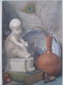 Frances Mary Towers Watercolour Still life studies and an allegorical scene, two signed verso
