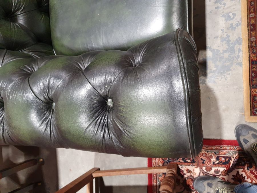 Modern green ground button-back Chesterfield sofa by Thomas LloydCondition ReportGood overall - Image 5 of 10