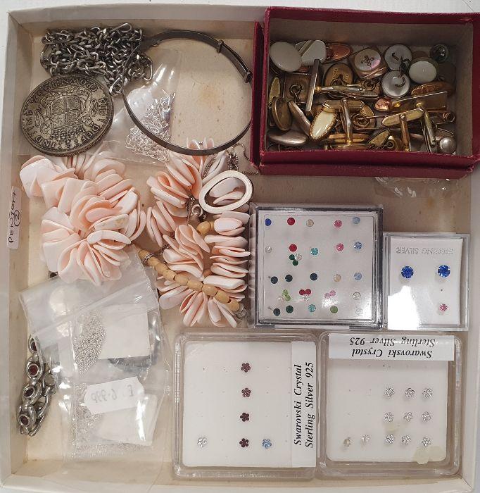 Assorted modern stud earrings, gold coloured cufflinks, binoculars, costume jewellery ( 1 box)