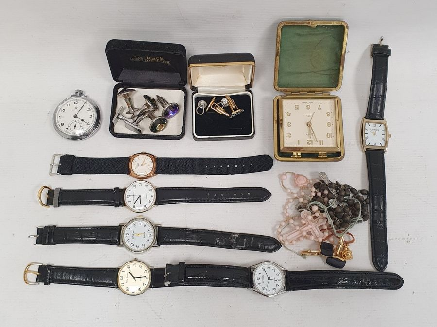 Quantity of assorted gentleman's watches, Services pocket watch, cufflinks (1 box)