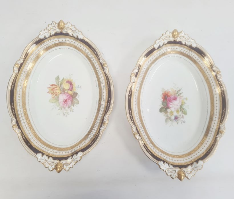 Pair of Royal Crown Derby dishes each of shaped oval form with pierced acorn and oak leaf handles - Image 3 of 7