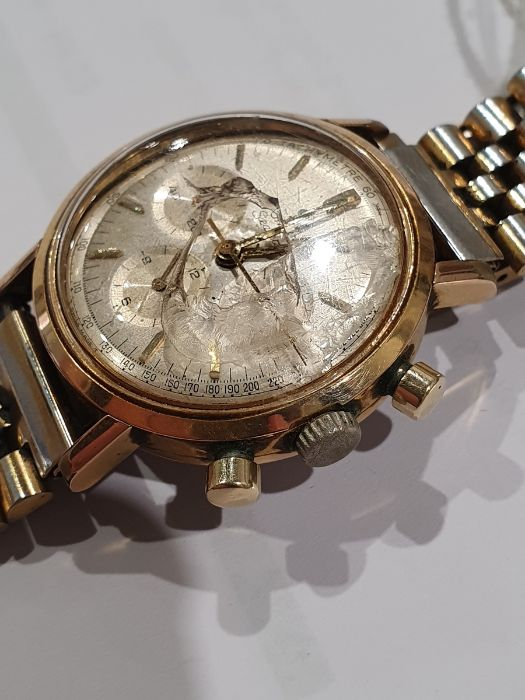 Omega Seamaster gentleman's gold-plated chronograph bracelet watch, the silvered dial with baton - Image 7 of 8