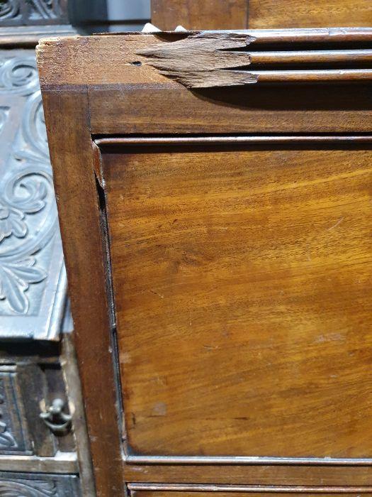 19th century mahogany linen press, two flame mahogany doors enclosing linen press drawers, base - Image 8 of 21