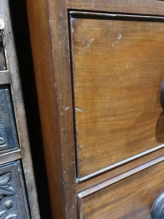 19th century mahogany linen press, two flame mahogany doors enclosing linen press drawers, base - Image 15 of 21