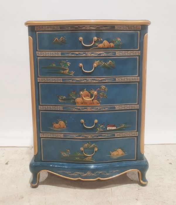 Chinese style blue ground five-drawer chest, 69.5cm x 96cm