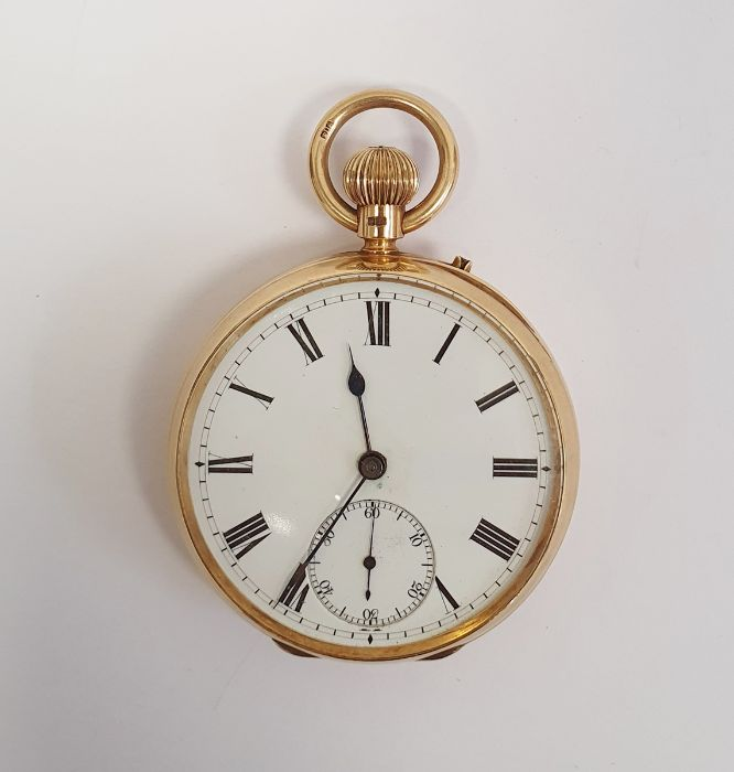 Gents 18ct gold keyless lever open-faced pocket watch, Roman numerals and subsidiary seconds dial