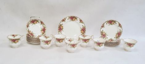 Quantity of Royal Albert 'Old Country Roses' tea warescomprising seven cups and saucers, seven side