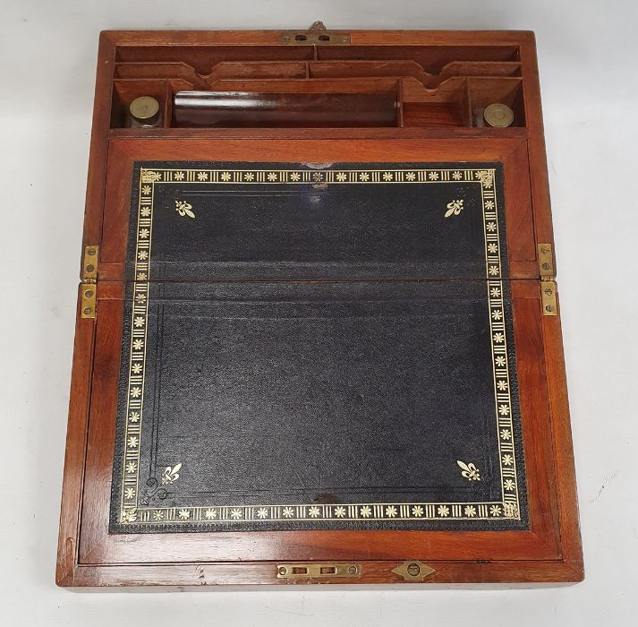 19th century walnut and brass bound writing slope - Image 2 of 2