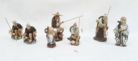 Five pottery models of Chinese fishermen and two other figures(7)