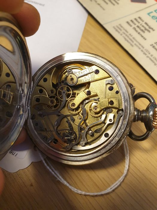 Swiss silver keyless open face calendarpocket watch with white enamel dial Roman numerals, two - Image 5 of 5