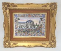 Porcelain plaquedepicting Chenonceau Chateau on the Loire, with figures beneath within an elaborate