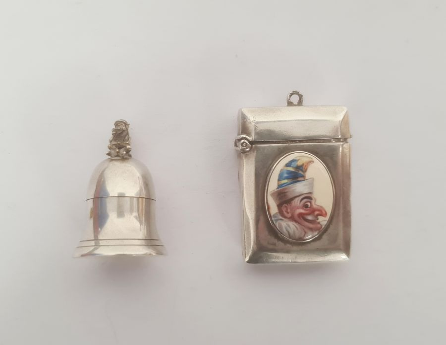 20th century silver tooth box, bell-shaped, with fairy finial, Birmingham maker J Bros and a