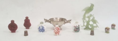 Three ceramic scent bottles, two further scent bottles, a hardstone carving of birds on a branch and