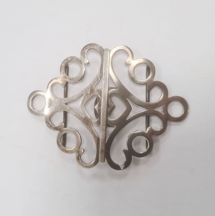 20th century silver buckle, diamond-shaped and pierced and heart detail, Birmingham reg no.326563,